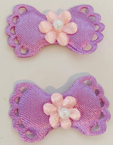 "Flower on Bow Pair, Lavender Satin 1 3/8"" x 7/8"""