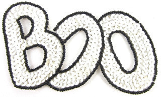 BOO! Halloween Word White and Black Sequins/Beads 3.5