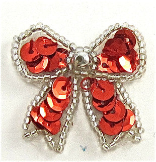 "Bow Red Sequins and Silver Beads 1.5""x 1.5"""
