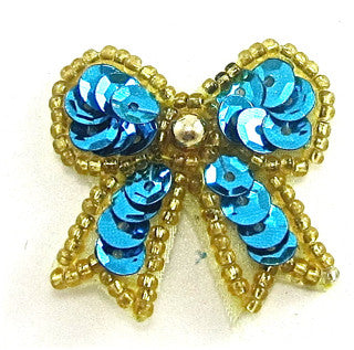"Bow Turquoise with Gold Trim 1.5"" x 1.5"""
