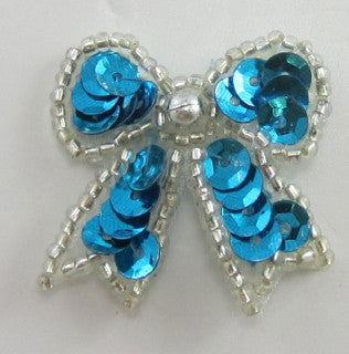 "Bow Turquoise with Silver Trim 1.5"" x 1.5"""