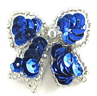 "Bow Royal Blue with Silver Trim, 1.5"" x 1.5"""