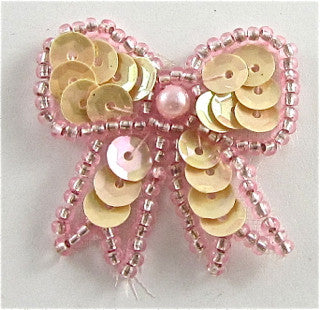 "Bow Cream with Pink Trim 1.5"" x 1.5"""