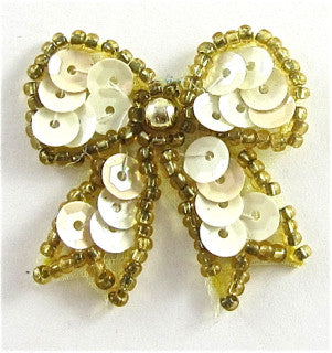 "Bow with Lite Yellow and Dark Gold Beads, 1.5"" x 1.5"""