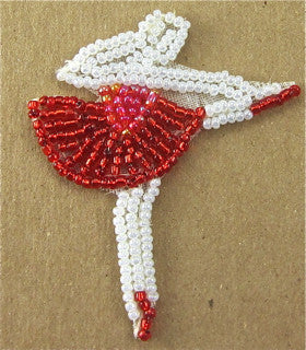 "Ballerina Red and White Beads 4"" x 3"" - Sequinappliques.com"