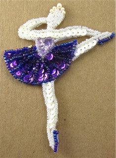 "Ballerina with Purple Sequins and White Beads 3.5"" x 3"" - Sequinappliques.com"