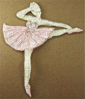"Checked Ballerina  with Pink Sequins and Beads 4"" x 3"""