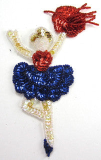 "Ballerina Red White Blue Sequins and Beads 6.25"" x 3"" - Sequinappliques.com"