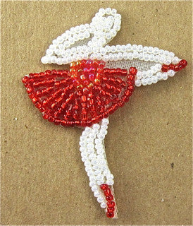 "Ballerina with Red and White Beads 2"" x 2"" - Sequinappliques.com"