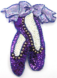 "Ballet Slipper Purple and White  Sequins and Beads 5"" x 4"""