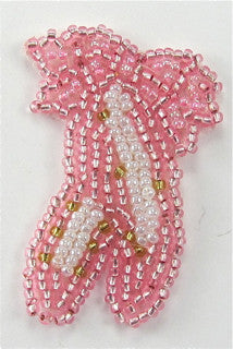 "Ballet Slippers Pink and White Beads 2"" x 1.5"""