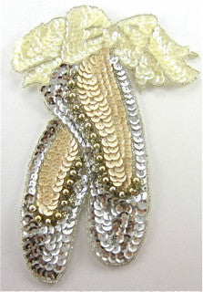 "Ballet Slippers with Beige and silver and Iridescent Sequins and Beads 7.25"" x 5.5"" - Sequinappliques.com"