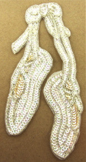 "Ballet Slippers with Iridescent and Cream Sequins Silver Beads 9.5"" x 4"" - Sequinappliques.com"