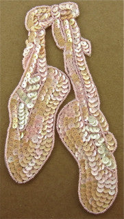 "Ballet Slippers with Pinkish Peachish Sequins and Beads 8"" x 4"""