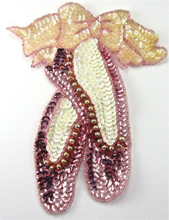 "Ballet Slippers with Pink Sequins and Beads 7"" x 5.5"" - Sequinappliques.com"