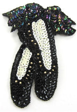 "Load image into Gallery viewer, Ballet Slippers with Moonlite Gold Sequins And beads 5"" x 4"" - Sequinappliques.com"