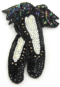 "Ballet Slippers with Moonlite Gold Sequins And beads 5"" x 4"" - Sequinappliques.com"