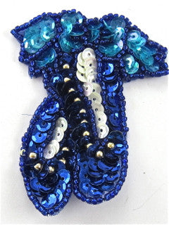"Ballet Slippers with Turquoise and Blue Sequins and Beads 3"" x 2"" - Sequinappliques.com"