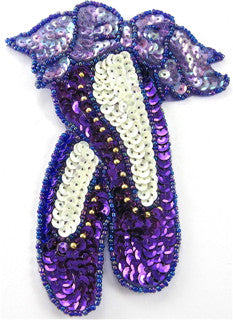 "Ballet Slippers Purple gold Cream Sequins and Beads 7"" x 5"""