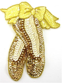 "Ballet Slippers Large Gold and Cream Sequins 7"" x 6"" - Sequinappliques.com"