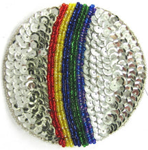"Load image into Gallery viewer, Ball For the Beach with Rainbow Sequins and Beads 3.5"" x 3.5"" - Sequinappliques.com"