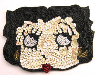 "Vintage Cartoon Face Sequin Beaded 4.5"" x 6"""
