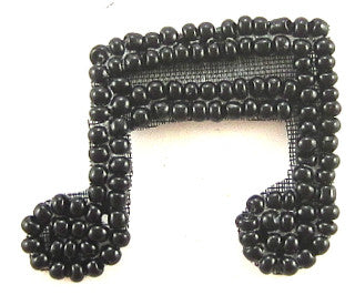 "Double Note Black Beads 1"" x 1.25"""