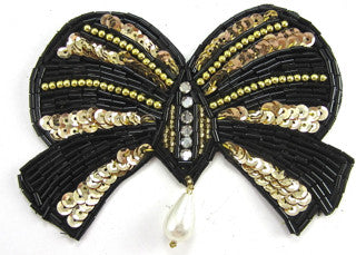 Bow Black/Gold Sequins and Beads with Rhinestones 3""