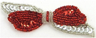 "Bow Red Beads Silver Sequins 3.5"" x 2"""
