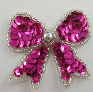 "Bow with Fuchsia Sequins and Silver Beads 2"" X 2"""