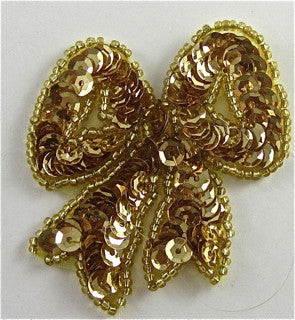 "Bow with Gold Sequins and Beads, 2.5""x2"""