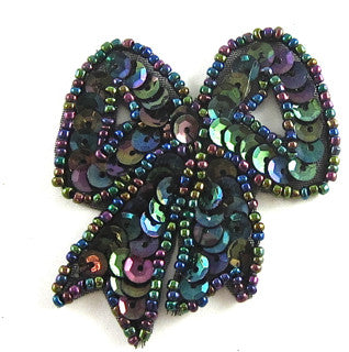 "Bow with Moonlite Sequins and Beads, 2.5"" x 2"""