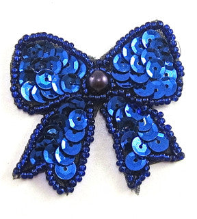 "Bow with Royal Blue Sequins and Beads 1.5"" x 1.5"""