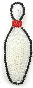 "Bowling Pin with White, Red and Black Beads 3"" x 1"""