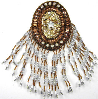 "Epaulet with Silver and Bronze Beads and Rhinestones 8.5"" x 3.5"""