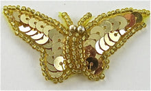 "Load image into Gallery viewer, Butterfly Gold Sequins and Beads 2"" x 1"""