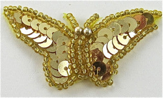 "Butterfly Gold Sequins and Beads 2"" x 1"""
