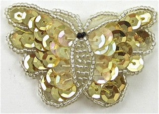 "Butterfly Gold Silver Iridescent Sequins and Beads 1.5"" x 2.25"""