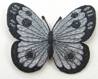 "Butterfly Black/Grey Embroidered Iron-on   2"" x 2.5"""
