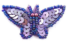 "Load image into Gallery viewer, Butterfly Lite Purple Dark Purple Beads 1"" x 2"""