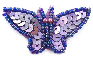 "Butterfly Lite Purple Dark Purple Beads 1"" x 2"""