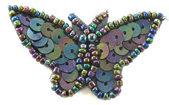 "Butterfly with Moonlight Sequins and Beads 1"" x 2"""