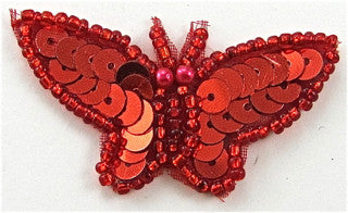 "Butterfly Red Sequins and Beads  2""x 1"""