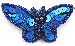 "Butterfly Royal Blue Sequins and Beads 1"" x 2"""
