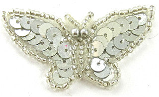 "Butterfly Silver Sequins and Beads 2"" x 1"""
