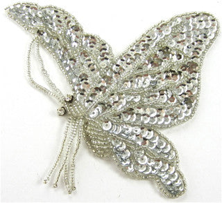 "Butterfly Silver Sequins Side View 5.5"" x 4"""