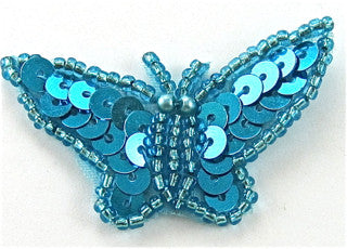 "Butterfly Turquoise  Sequins and Beads 1"" x 2"""