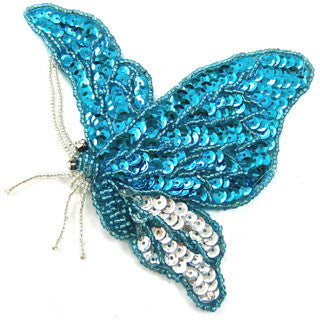 "Butterfly Turquoise and Silver Beads and Sequins 4"" x 5.5"""