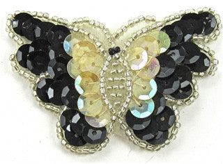 "Butterfly with Cream Iridescent and Black Sequins 1.5"" x 2.25"""