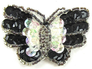 "Butterfly with Clear Iridescent and Black Sequins 1.5"" x 2.25"""